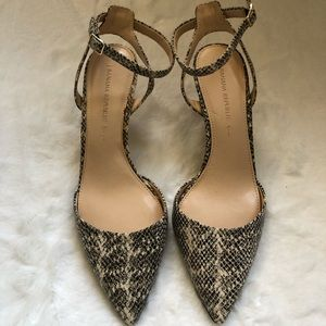 Banana Republic ankle strap pointed-toe heels.